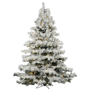 Flocked Alaskan 3 White Artificial Christmas Tree With 100 Led Lights Stand
