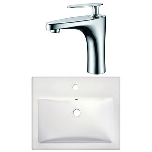 American Imaginations 1 Hole Ceramic Rectangular Drop-In Bathroom Sink with Faucet