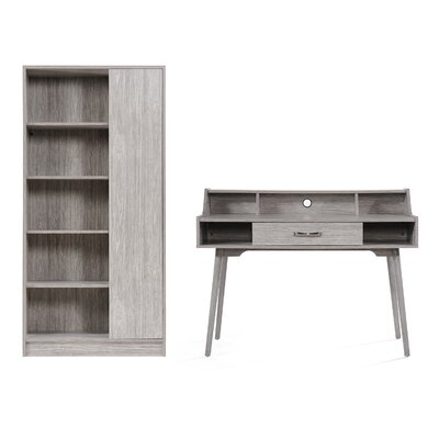 Zipcode Design Buena Vista Mid Century Modern Wood Desk with Hutch and Bookcase Set Color: Gray