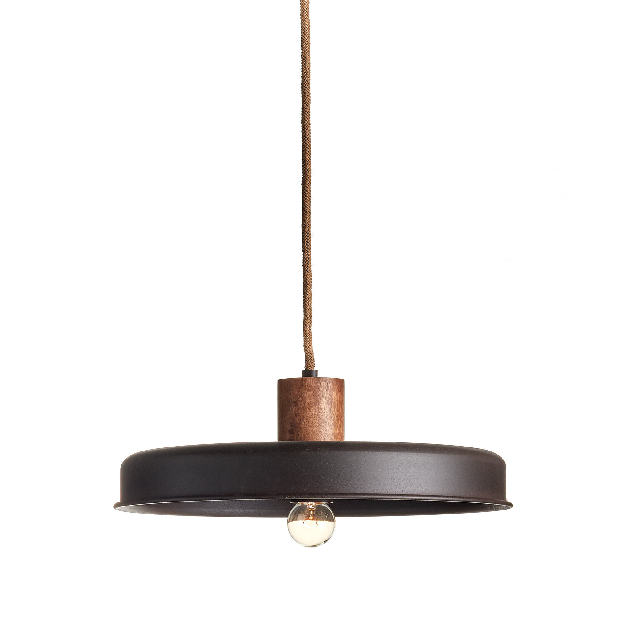 17 Stories Shamar 1 Light Single Dome Pendant With Rope Accents Wayfair