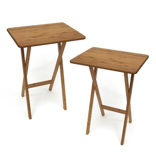 Bamboo Rectangular Snack Tray Table (Set of 2) by Lipper International