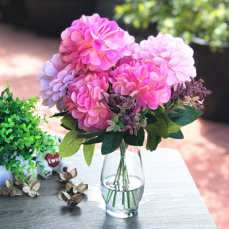 House Of Hampton Pink Dahlia Mixed Floral Arrangements And Centerpieces In Vase Reviews Wayfair