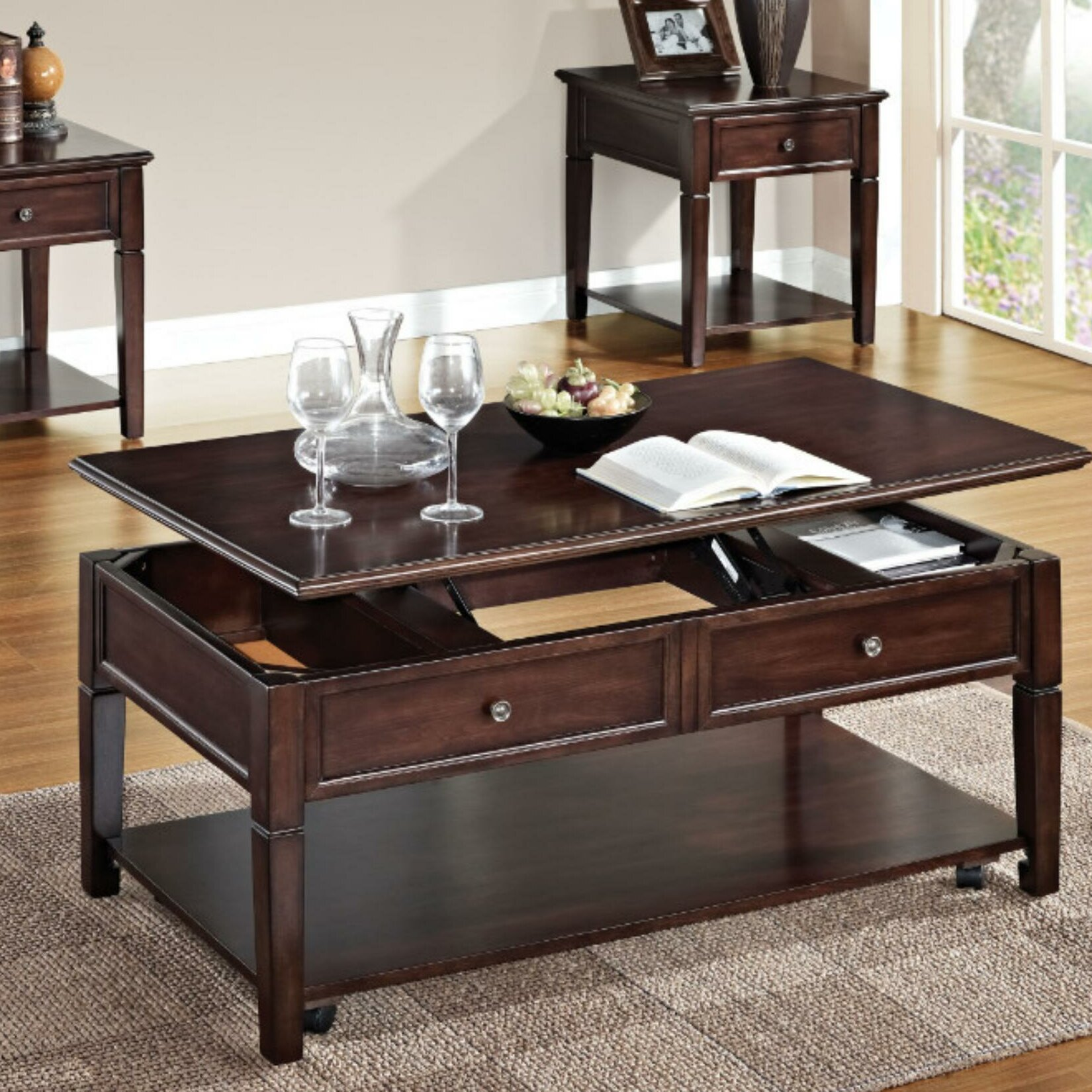 Darby Home Co Eppler Wooden Lift Top Coffee Table With Storage