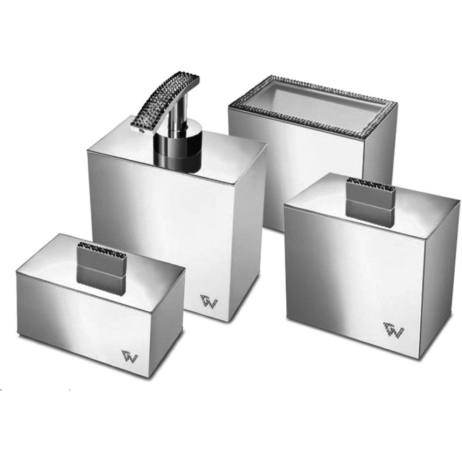 Rosdorf Park Patrice Square Swarovski 4 Piece Bathroom Accessory Set Wayfair