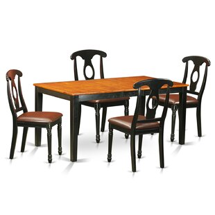 Pillar 5 Piece Wood Dining Set with Recta..