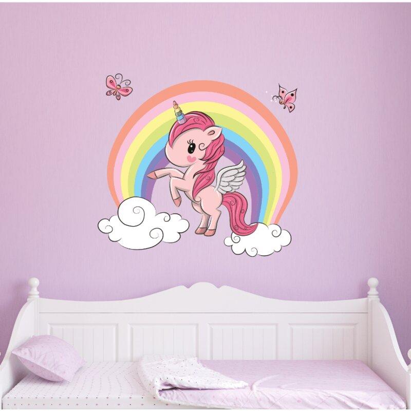 zoomie kids unicorn with rainbow wall decal   wayfair