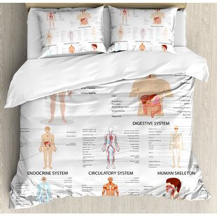 Human Anatomy Complete Chart of Different Organ Body Structures Cell Life Medical Illustration Duvet Cover Set