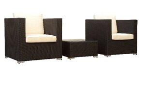 Manhattan Comfort Margate 3 Piece Conversation Set with Cushions