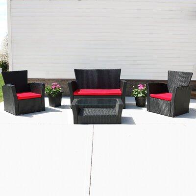 Anissa 4 Piece Sofa Set with Cushions Freeport Park
