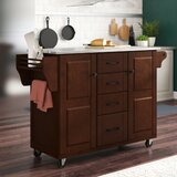 Iyana Kitchen Island with Stainless Steel Top by Charlton Home®
