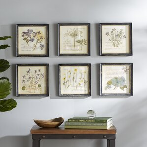 pressed flowers framed graphic art print set of 6