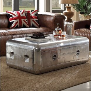 17 Stories Lottie Trunk Aluminum Coffee Table with Storage