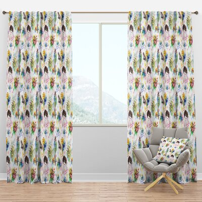 Beauty And Fashion Floral Semi Sheer Thermal Rod Pocket Curtain Panels Design Art Size Per Panel 52 W X 63 L Sportspyder