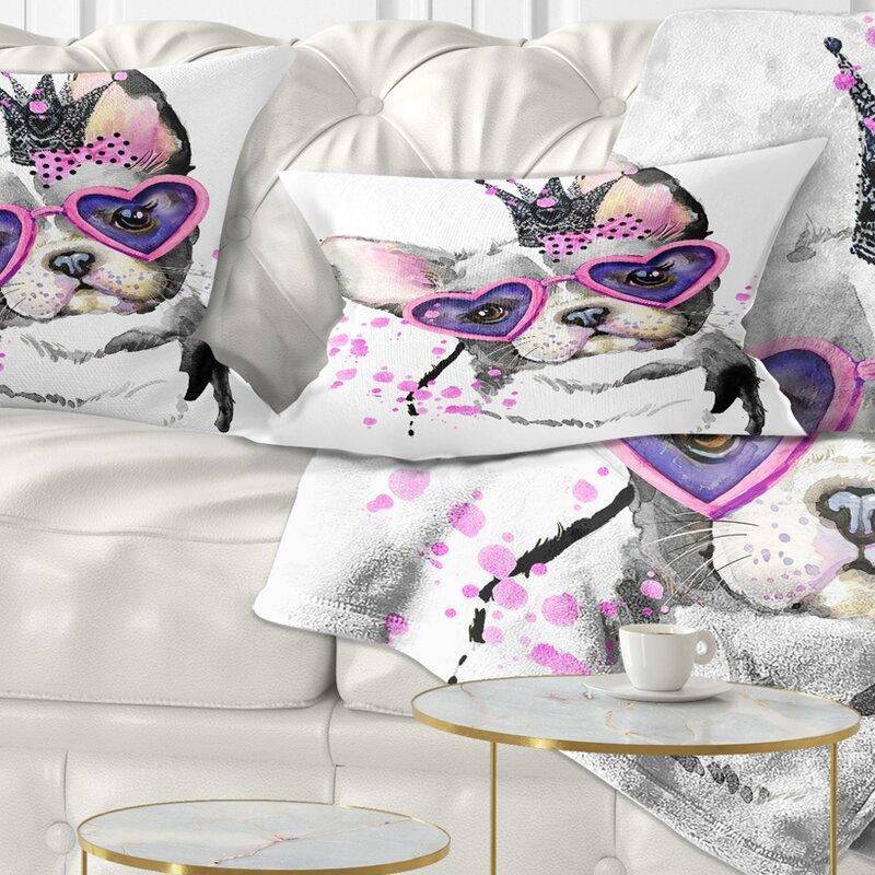 East Urban Home Animal Sweet Funny Dog With Glasses Lumbar Pillow Wayfair