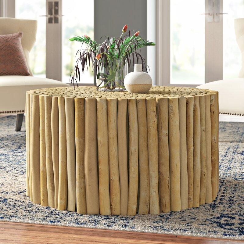 Enoch Solid Wood Drum Coffee Table