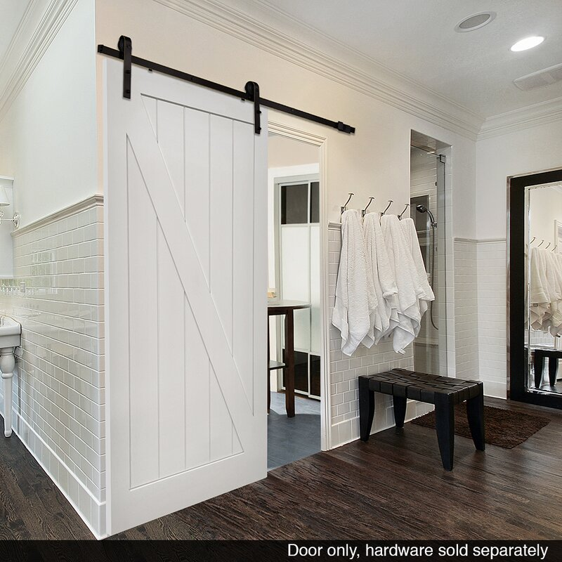 Stile Rail Z Planked Manufactured Wood 2 Panel White Interior Barn Door