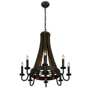 Wine barrel stave chandelier wayfair greenbriar oak barrel stave madera 8 light chandelier aloadofball