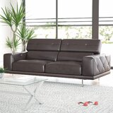 Belmar 83 Wide Genuine Leather Square Arm Convertible Sofa by Wade Logan®