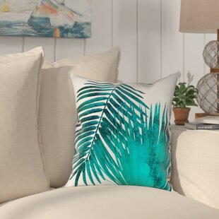 Ellicott Watercolor Teal Palms Outdoor Throw Pillow