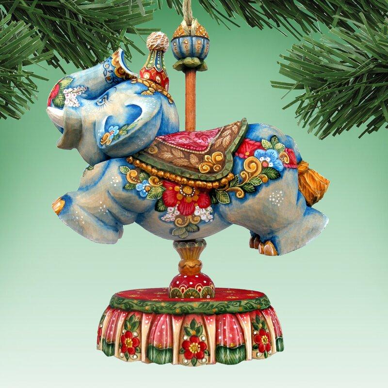 Christmas Carousel Elephant Glass Ornament Decoration