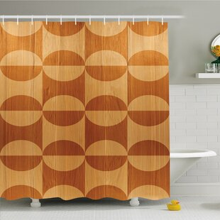 Rustic Home Abstract Oak Plank Pattern with Tiled Bound Lines and Oval Curves Image Shower Curtain Set