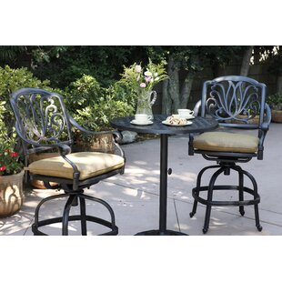 Three Posts Lebanon 3 Piece Bar Height Dining Set with Cushions