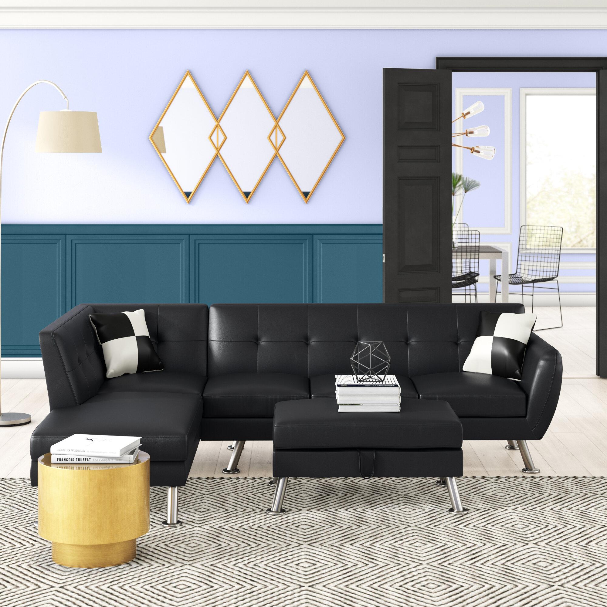 Ebern Designs Jocelynn 103 Faux Leather Modular Sofa Chaise With Ottoman Reviews Wayfair