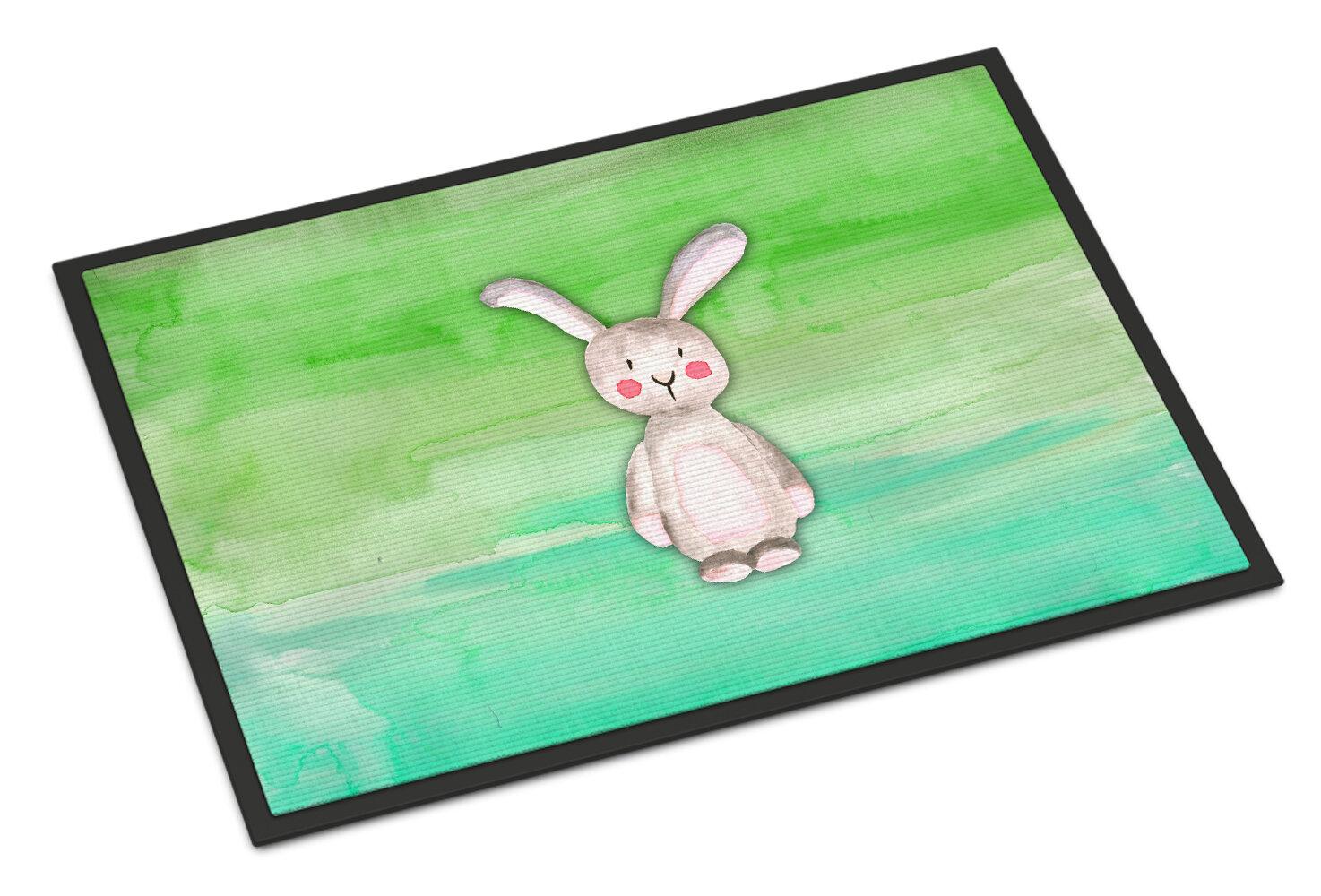 East Urban Home Bunny Rabbit Watercolor Non Slip Outdoor Door Mat Wayfair