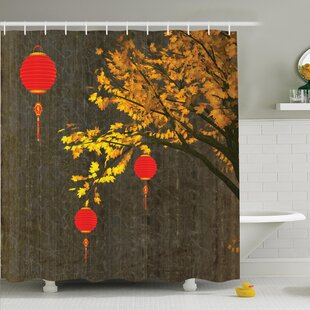 Tree Falls Lantern Vintage Shower Curtain Set