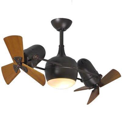 17 Stories 41 Valerian 6 Blade LED Dual Ceiling Fan with Wall Remote Finish Textured Bronze