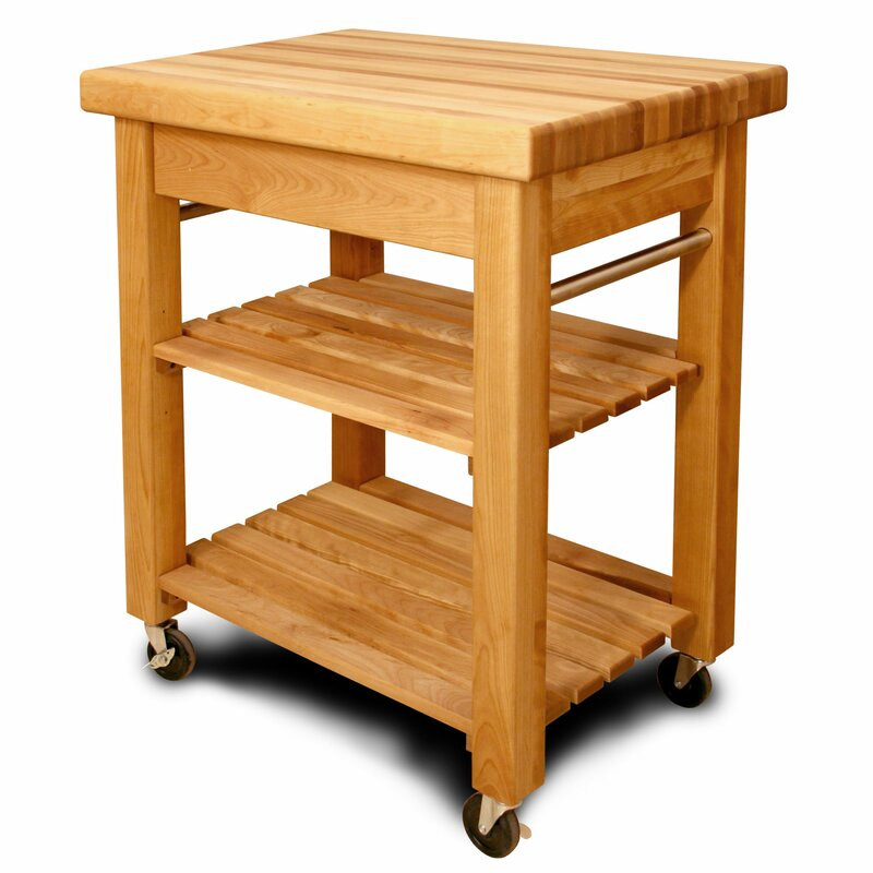 French Country Kitchen Cart With Butcher Block Top