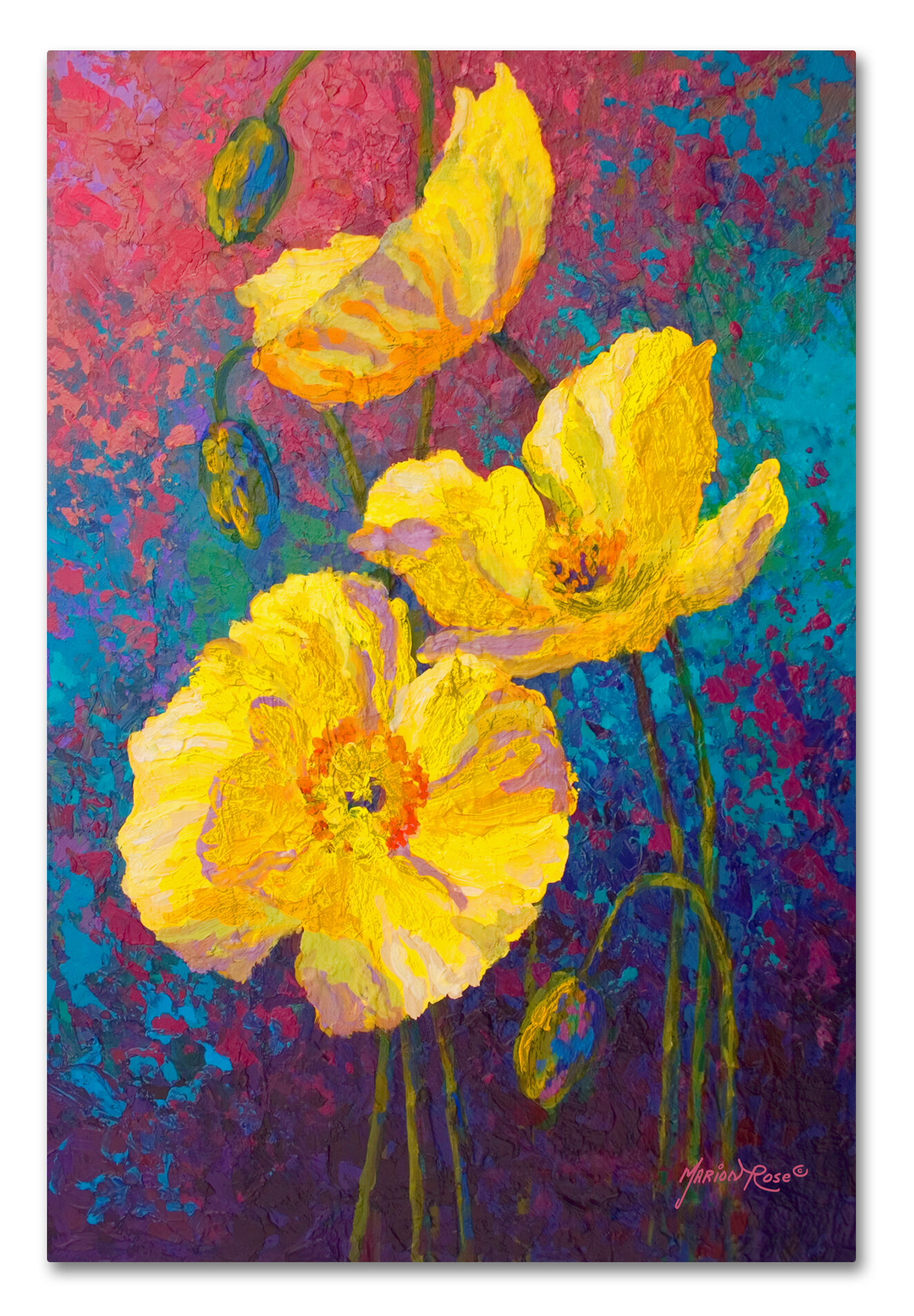 Trademark Art \'Yel Poppies\' Painting Print on Wrapped Canvas | Wayfair