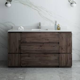 Gracie Oaks Jody Solid Fir 49 Single Bathroom Vanity Set Wayfair