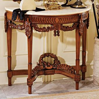 Punctual Solid Mahogany French Chateau Style Antique White Carved Console Hall Table Tables Tables