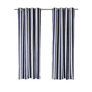 Gonzalo Decor Striped Semi Sheer Outdoor Grommet Single Curtain Panel