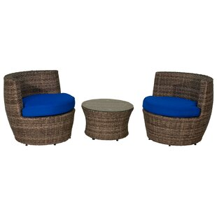 3 Piece Rattan Sunbrella Conversation Set With Cushions by Aura Outdoor Products Savings