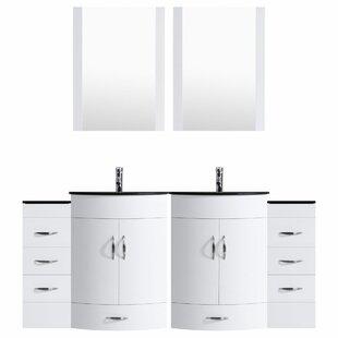 Marguez 96 Double Bathroom Vanity Set with Mirror by Orren Ellis