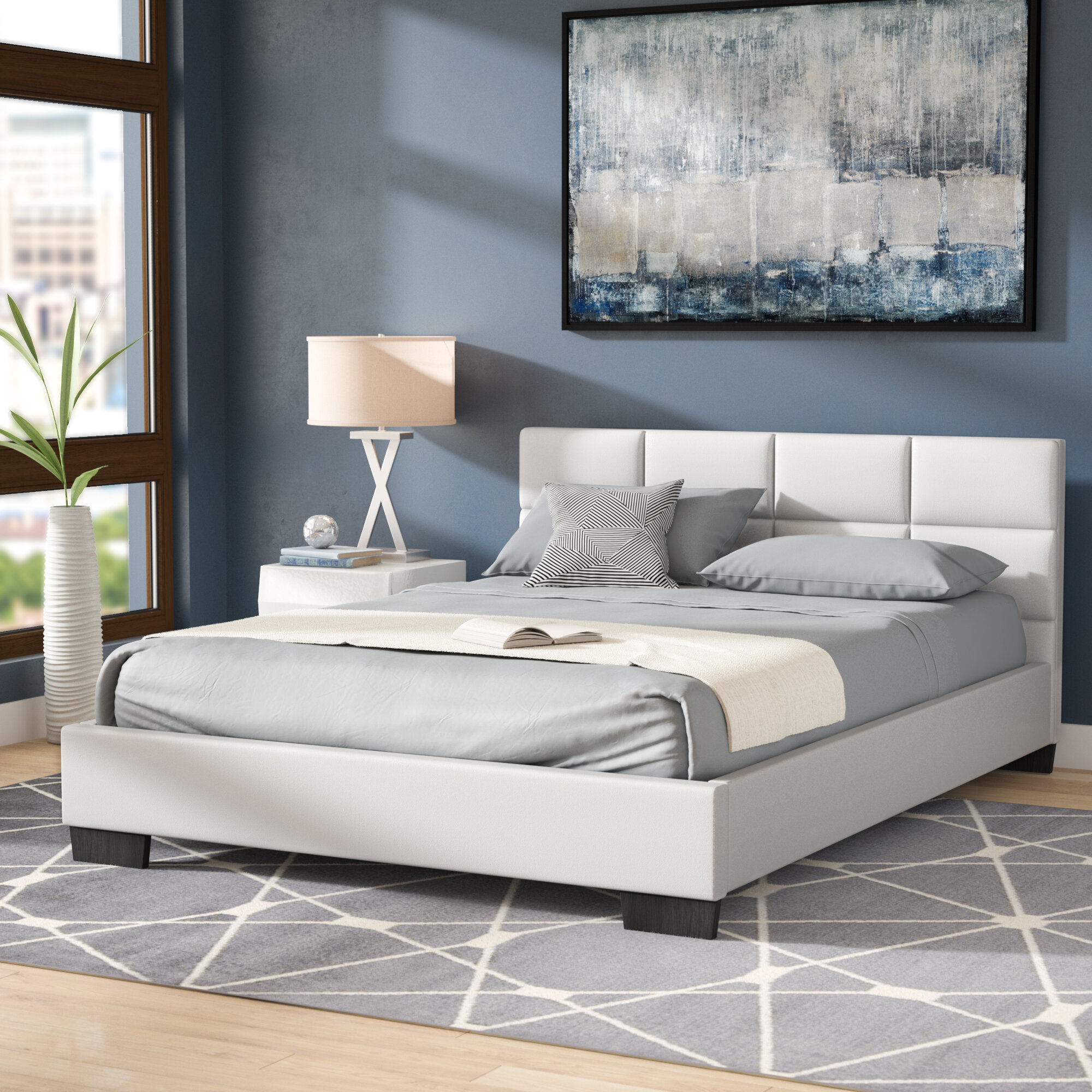 pretty nice 3f66a 2ea52 Wade Logan Helmick Upholstered Platform Bed & Reviews | Wayfair