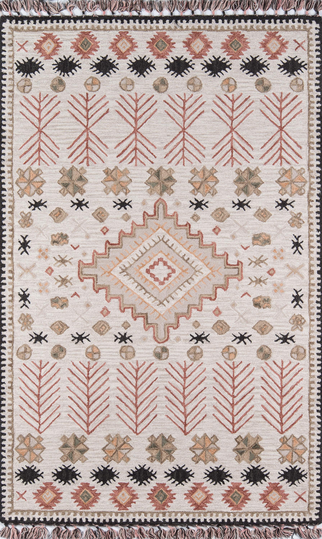 Allmodern Bronte Southwestern Hand Hooked Wool Pink Beige Area Rug Reviews Wayfair Ca