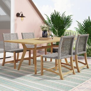 Tibbitts Nautical 5 Piece Teak Dining Set by Mistana