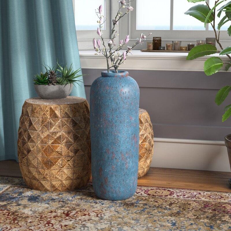 Bungalow Rose Blue Terracotta Floor Vase Wayfair