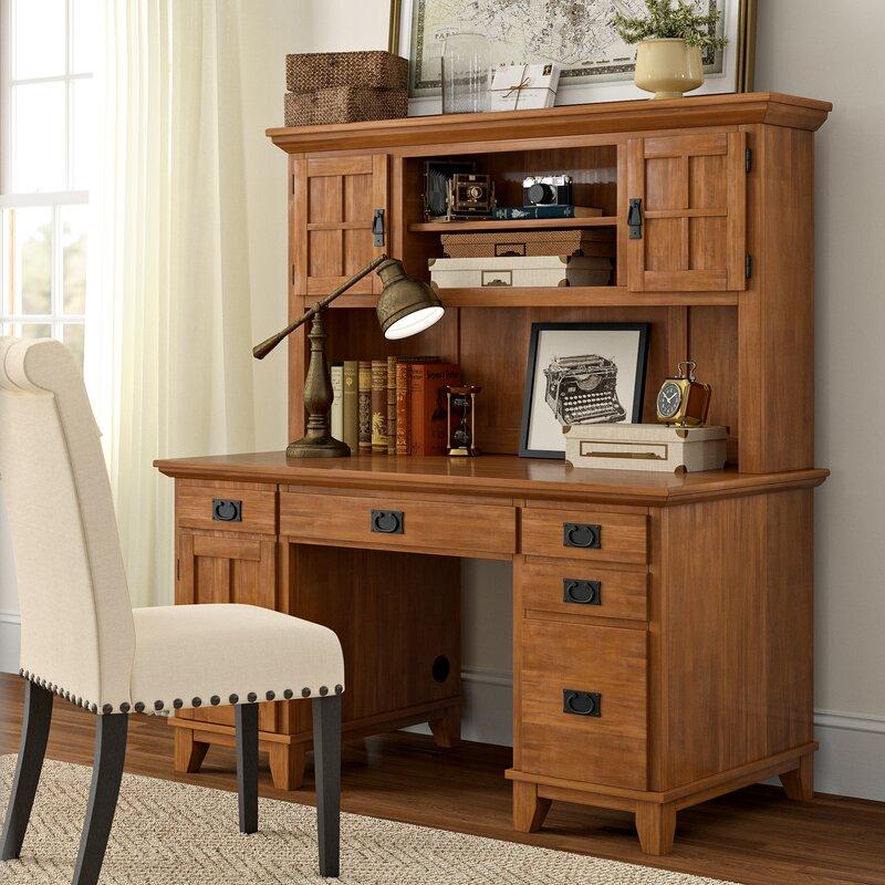 Three Posts™ Ferryhill Pedestal Computer Desk with Hutch & Reviews