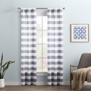Wayfair Basics Stripe Semi-Sheer Rod Pocket Single Curtain Panel by Wayfair Basics™