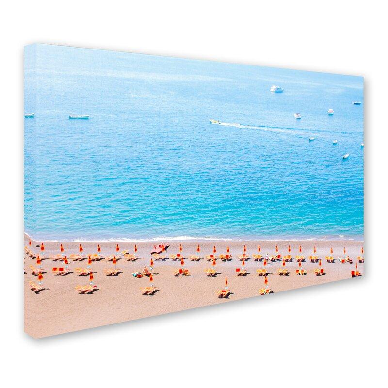 Trademark Art Positano Beach By Ariane Moshayedi Photographic Print On Wrapped Canvas Wayfair