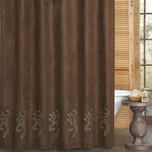 Buckmark Embroidered Suede Single Shower Curtain