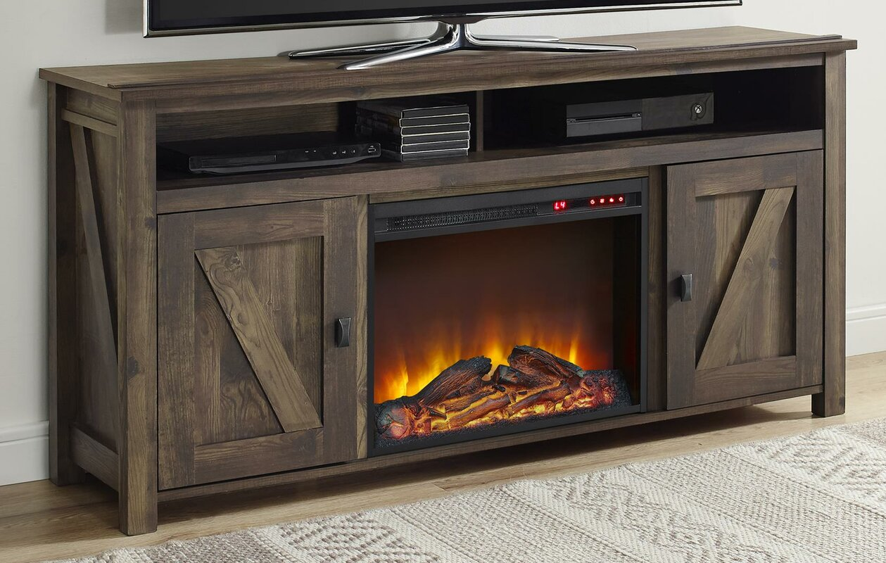 p stands with barn electric decorators cabinet ivory fireplace in door hill tv sliding collection chestnut stand home