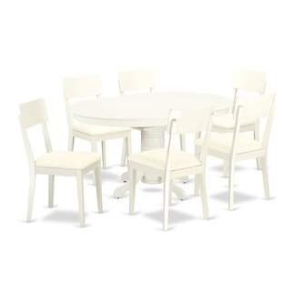 Emmaline 7 Piece Solid Wood Dining Set by Alcott Hill Best #1t