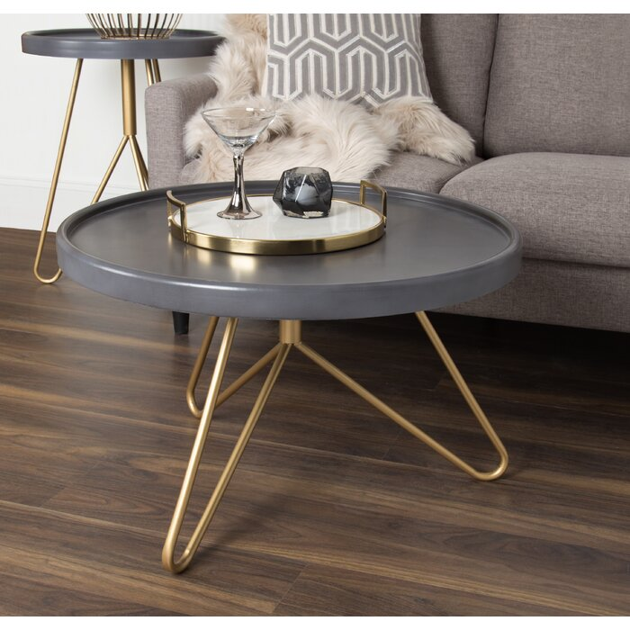 Ivy Bronx Kate And Laurel Maxey 30 Inch Round Coffee Table Grey