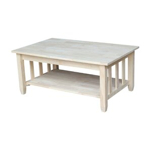 Unfinished Wood Mission Coffee Table with Lift Top by International Concepts