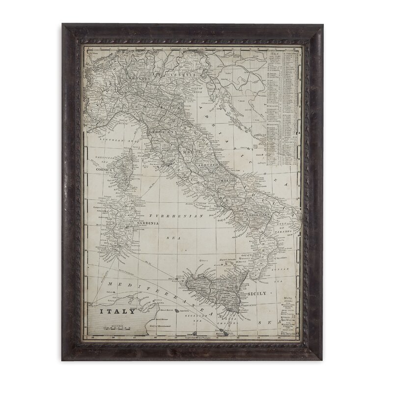 Darby Home Co Antique Map of Italy Framed Graphic Art | Wayfair